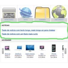 Noticias na loja online - ecommerce v7.0x